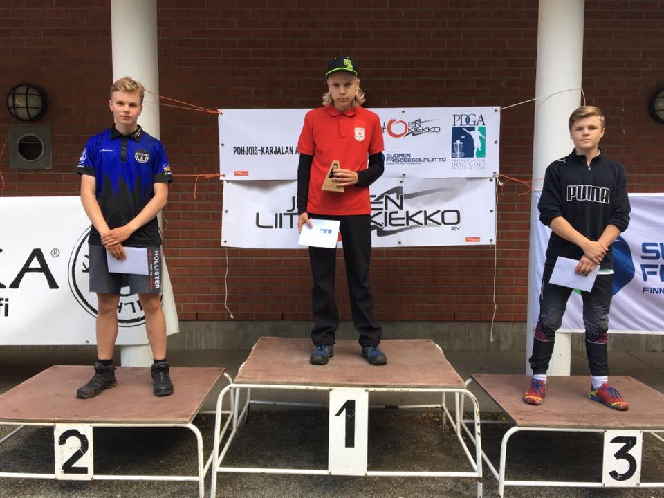 Juniorit-18: Arttu Räsänen (2.), Niko Liikkanen (1.) ja Elias Sopo (3.)