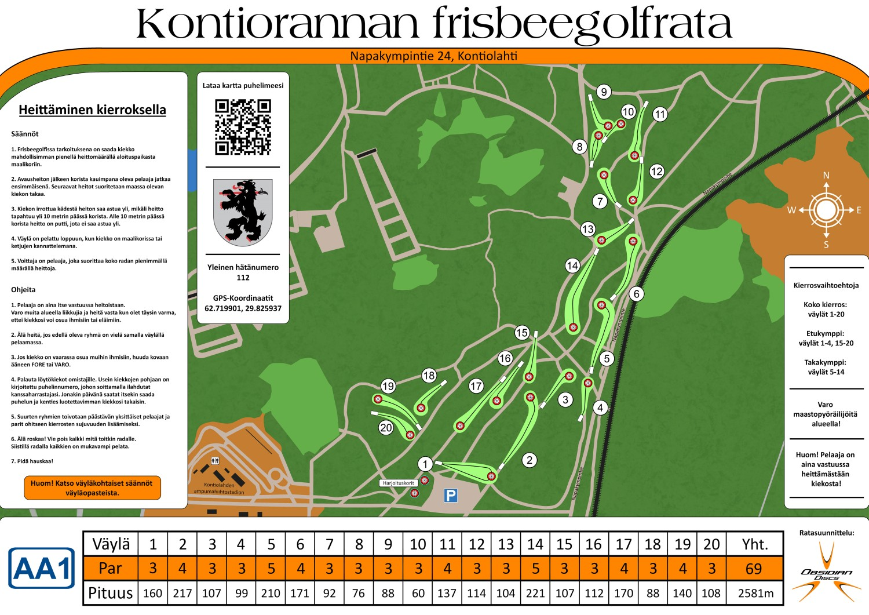 kontioranta-frisbeegolf-ratakartta