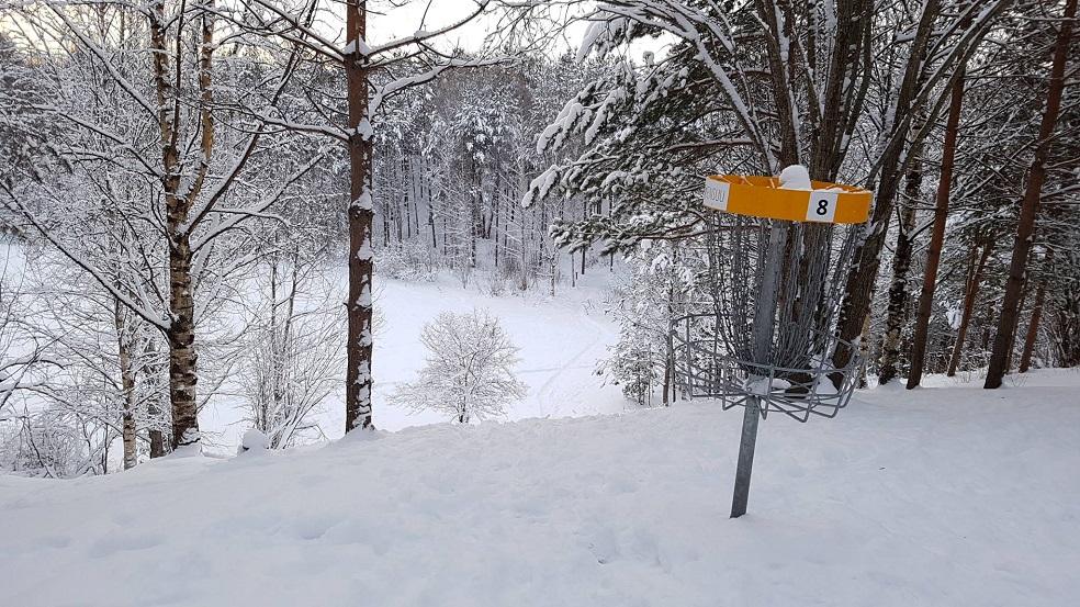 Viikkokisojen syksysarjan viimeiset kisat pelattiin Utran frisbeegolfradalla talvisissa maisemissa. Kuvassa väylä #8 korilta tiille päin kuvattuna.